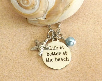 Starfish Necklace, Life Is Better at the Beach, Nautical Necklace, Beach Jewelry, Beach Necklace, Starfish Charm, Ocean, Sea Necklace