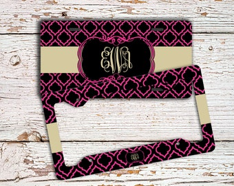 Monogram car accessory, Preppy license plate or frame, Personalized car tag Unique gift for daughter Bike plate Black hot pink pattern(1415)