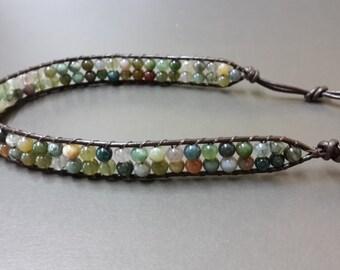 Double Jasper  Leather  Bracelet