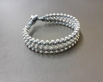 Twin Gray  Wax Cord Silver Bracelet