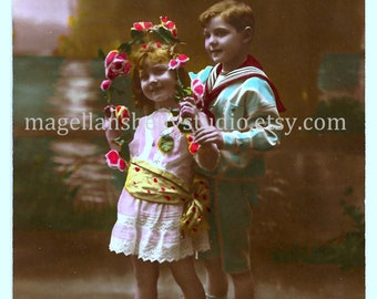 French RPPC Digital Download 1910's Our Kisses to You  Boy and Girl With Flowers Real Photo Post Card Hand Tinted Aqua Blue Pink