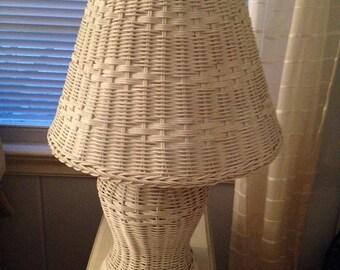 VINTAGE WICKER LAMP White Shade Kids Room Cottage Beach Decor