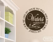 Joshua 24:15 As for me and my house we will serve the Lord Vinyl wall art Decal, Living room decor, Family circle JOS24V15-0014