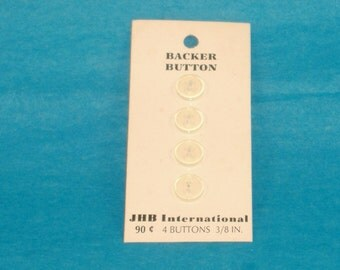 Vintage Backer Buttons - Translucent Round Flat Button, 10mm-1 Cards of 4 Buttons - Acrylic Button - JHB International Vintage Button