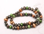 Super SALE Multicolor Potato Pearls, Brown, Orange, and Lime Green Nugget Freshwater Pearls 8x6mm --full strand