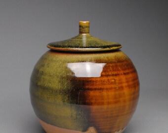 Clay Covered Jar Wood  Soda Fired B51