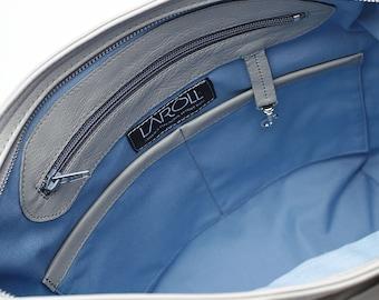 PALE BLUE interior lining - HELEN hobo bag