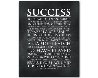 Success - This is to have succeeded - laugh often and much - Inspirational quote - Graduation Gift - Emerson quote - Typography word art