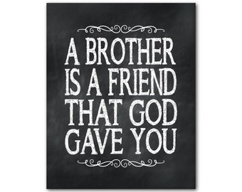 Wall Decor - A brother is a friend that God gave you - family wall Art - typography print - family gift - brother gift - word art