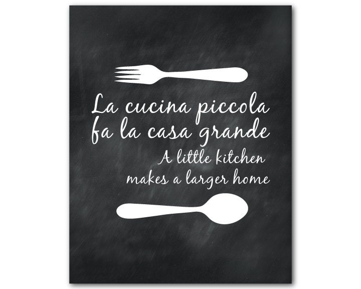 Kitchen Wall Art La cucina piccola fa la casa grande A
