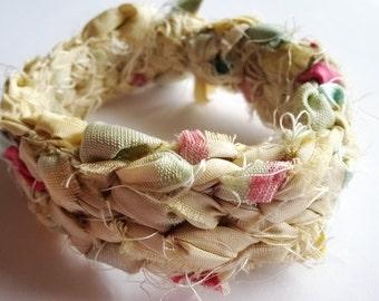 Creamy White w/ Baby Blue, Magenta, and Yellow Reclaimed Sari Silk Crocheted Bracelet