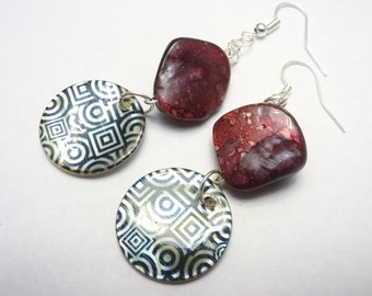 Mother of pearl Dangle Earrings: Deep Purple-Maroon Dyed Shell Beads & Bold Geometric Pattern on Mother of Pearl Disks- Hypoallergenic