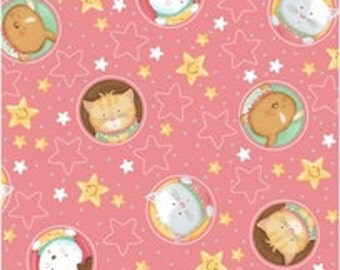 Baby Bundles fabric by Quilting Treasures animals on rose pink yardage - REDUCED