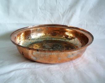 Primitive vintage copper bowl, hand wrought, hammered, solid, minimalist. Bright burnt orange & silver hue. Home decor, centerpiece display