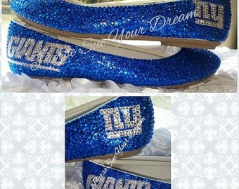 Custom Crystal Rhinestone NY Giants Themed Shoes - Swarovski Crystals