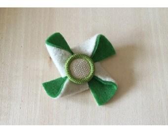 Green/Cream Felt Pinwheel Hair Clip