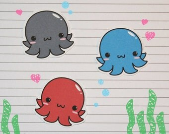 Chibi Octopus Stickers and Magnets