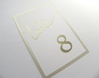Metallic Gold Embossed Wedding Table Number