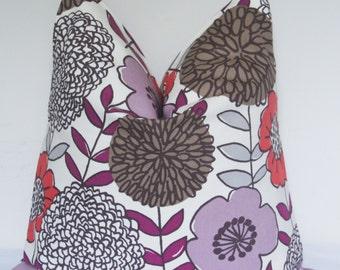 Purple Pillow, Floral Pillow, Plum Flower, Pillow Cover, Decorative Pillow, Throw Pillow, Toss Pillow, Home Furnishing, Home Decor