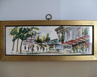Vintage Mid Century Tile Painting, Signed