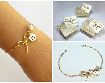 Free Shipping Set of 3 personalized gold-filled bow bracelets. bridesmaids, Gold filled Jewelry, Personalized, monograme bracelet