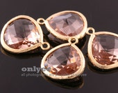 2pcs-18mmX15mmLarge Gold plated Brass Faceted Tear Drop With Glass pendants-Peach(M363G-D)