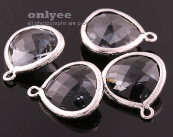 2pcs-18mmX15mmLarge Rhodium plated Brass Faceted Tear Drop With Glass pendants-Charcoal(M363S-A)