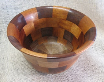 Walnut and Mahogany Segmented Bowl Handmade