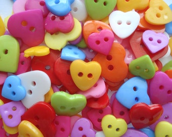 Pack of 100 Heart Shape Buttons Pack of 100 Mixed Heart Buttons H12100