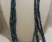 Vintage Blue and Green Heishi Wood Multistrand Necklace
