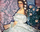 Handpainted  Silk Original batik  painting Princess Sissy  Austrian motives classic painting .