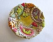 Round Paisley pattern ring dish, trinket dish polymer clay