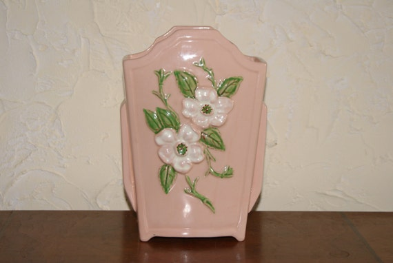 Vintage Hull Art Pottery 1940s Ceramic Vase With ROSELLA Pattern Pink Background With White Flowers