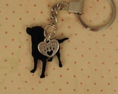 """Antique Silver  KeychainThat Says """"Best Friend""""- with Beautiful Black Lab Dog. CHARM  DOG  2-SIDED."""
