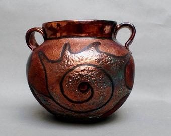 "Raku Pottery Vase Urn Handmade Ceramics Seashell Ceramics and Pottery Home and Living Home Decor Copper Turquoise Ceramics 6 1/2x9x9"""