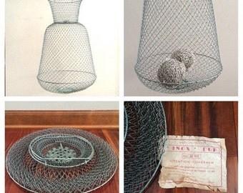 Inox Fish Basket, metal basket, collapsible basket, vintage fishing