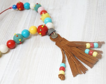 Tassel Felt balls suede leather long necklace Red brown green yellow blue wool bead jewelry Beadwork handmade boho hippie yellow ooak