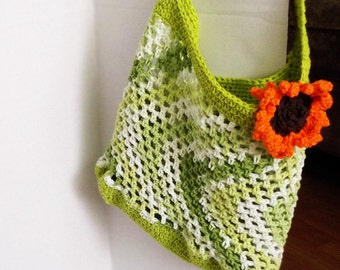 Mesh Market Bag Tote Bag Beach Bag Reusable Eco Friendly Spring Green White with Sunflower Accent All Purpose