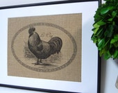 75% OFF SALE Burlap French Country Rooster Print