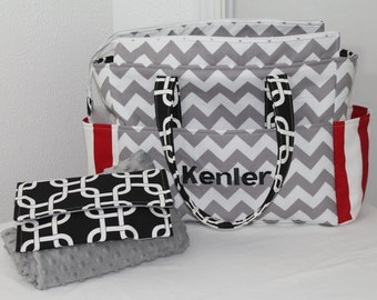 Monogrammed Chloe XL Diaper Bag w/ Wipes Case and Minky Blanket-Your Choice of Any Fabric- Made to Order