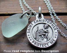 Custom US Marines St Christopher Necklace. US Army. Air Force. US Navy. Charm. Pendant. Medal. Medallion. Catholic Jewelry. Gift  Soldier