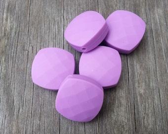 Set of 5 Lavender Quadrate Silicone Beads - Food Grade & BPA Free Teething Beads
