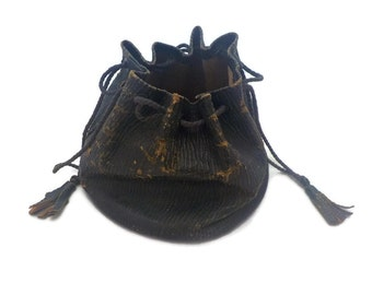 ON SALE - Antique Leather Drawstring Bag Medicine Bag
