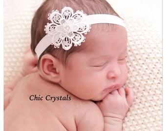 White Headband-Flower Headband-Lace Headband-Soft Elastic Headband-Lace Flower-Baby Headband-Baby Girl-Infant Headband-Photo Prop-Unique