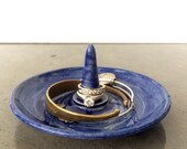Blue Watercolor Ceramic Ring Holder and Jewelry Dish-Discounted