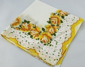 Vintage  Scalloped Hankie Handkerchief Yellow Roses on White, for Collecting, Framing, Sewing, Crafts, Collage  F15