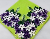 Vintage Hankie Handkerchief, Dead Stock, Green With Purple and White Violets, Great  for  Framing, Sewing, Crafts, Collage    G21
