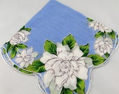 Vintage Hankie Handkerchief, Blue with White Flowers, Stunning for  Framing, Sewing, Crafts, Collage W15