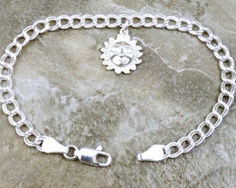 Sterling Silver Smiling Sun Charm on a Sterling Silver Double Link Charm Bracelet -1023