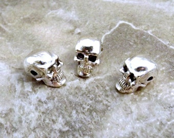 3 Silver Plated Pewter 5.5 mm Skull Beads with Horizontal Hole - 3567